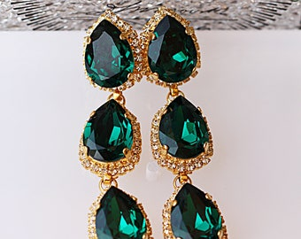 Emerald Wedding Earrings,Angelina Jolie Emerald Earrings,Emerald Bridesmaid Earrings,Statement Earrings Emerald,Swarovski Green Prom Jewelry
