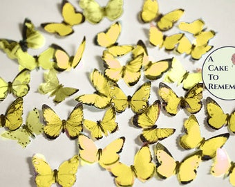 "48 small yellow edible butterflies, 1/2""- 3/4"" wide. Multi colors available. For cakes or cupcake toppers, cake pops or smash cake topper"