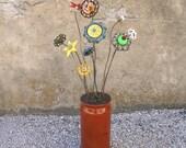 RSVD 5 flowers industrial metal flowers vase filler steampunk decor table centerpiece flower arrangement