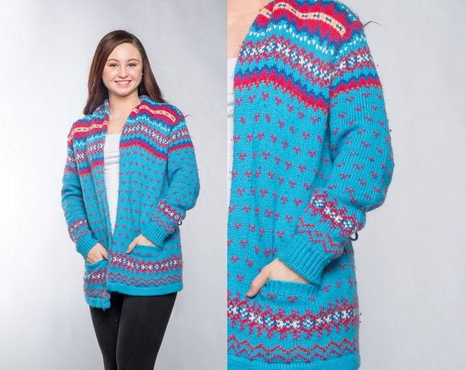 Large Bright Fair Isle Sweater Turquoise Red Pink Long Cardigan Cardie Sweater with Pockets 16Z