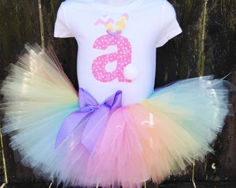 Easter Pastel Rainbow Tutu Set and Matching Headband |  Easter Rainbow Outfit |  Personalized Easter Bunny Outfit