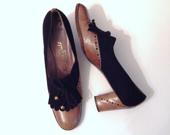 Vintage Pumps - Leather Pumps - Hill and Dale Shoes - 1950s Shoes - Tassel Heels - Spectator Pumps