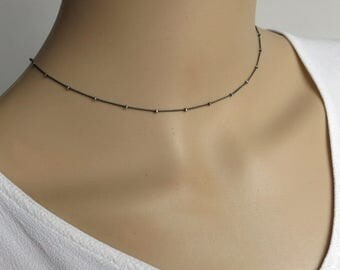 Solid Sterling Silver Satellite Choker Dew Drops Necklace