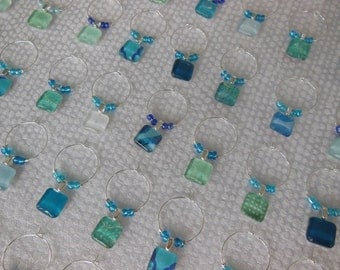 Ocean Blues Glass Wine Charms - Blues, Turquoise, Green - Set of Six - Wedding - Charms Made by Pillowscape Designs - Hostess Gift - Party