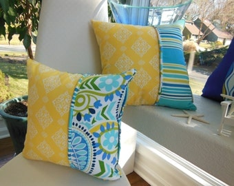Blue Yellow Striped Pillow - Paisley Decorative Pillow - Yellow Ikat Design -Blue and Sunny Yellow Pillow - Reversible 15 x 15 Inch Pillow