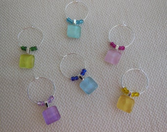Multi Colored Wine Charms - Yellow Purple Turquoise Green Blue Pink - Set of Six - Glass Wine Charms Made by Pillowscape Designs