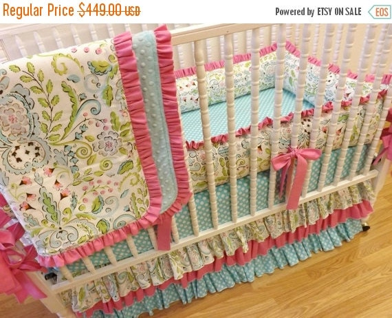SALE-SALE-SALE- Baby Bedding Made to Order 4 pc Crib Bedding Set