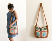 Crochet Knit Floral Purse / Hand Crocheted Shoulder Bag / Cross Body Bag / Brown Blue Tan Stitched Floral Lined