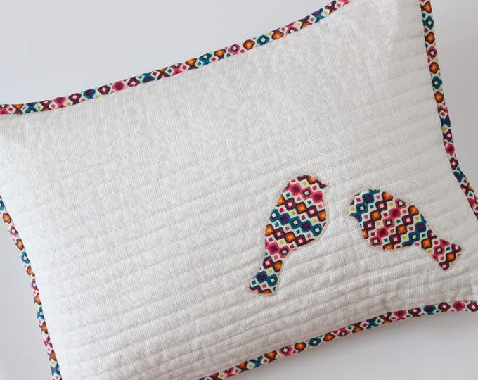 White Quilted Bird Applique Pillow