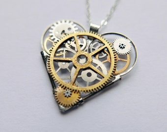 "Clockwork Heart Necklace ""Baillie"" Elegant Industrial Heart Pendant Steampunk Love A Mechanical Mind Gershenson-Gates Awesome Gift"