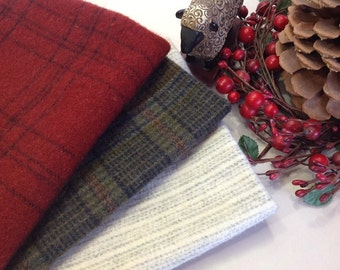 Winter Holidays Bundle, Wool for Rug Hooking and Applique, 3) Fat Eighths, W237, OOAK, Green Wool Plaid, Red Plaid, White Stripe
