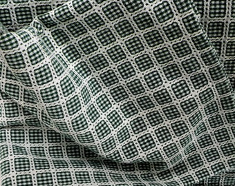 Vintage Green White Checkered Gingham Tablecloth Rectangle 48 x 65