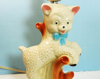 Baby Lamb with Blue Bow Accent Lamp - Vintage Nursery Home Decor, figural animal pottery