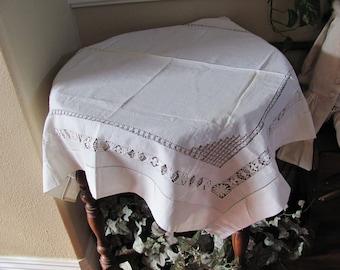"Table Linens Vintage Solid White Drawnwork Soft Fine Cotton  Tablecloth - 33"" Square (#148)"