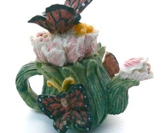 Vintage Butterflies Miniature Teapot Brown Polka Dot Mini Ceramic Green Leaves Pink Tulip Pottery Fairy Garden Plant Terrarium Easter Spring
