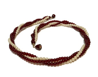 "Vintage Cherry amber and pearl 3 strand necklace with hidden screw closure 18 1/2"", 3 - 4 mm beads,  4 grams"