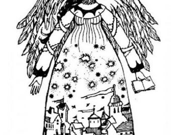 Winter Tapestry Angel Woman Lady Stampington And Co Wooden Rubber Stamp