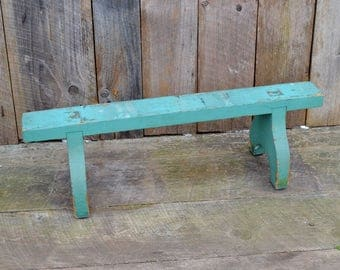 Wooden Stand Aqua Blue Green Turquoise Chippy Paint Shabby Patina Plant Stand Shelf Repurpose Vintage Display Photo Prop
