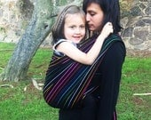 Special price for a limited time Mexican Namaka Black w rainbow colors stripes Wrap Baby carrier available in 5,5 yards