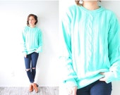 30% OFF VALENTINES SALE Vintage light blue mint turquoise cable knit sweater // cable knit sweater // boho sweater / oversized sweater winte