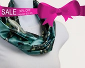 Infinity Scarf -  Silky Shades of  Teal and Mint Green on a deep Pine Floral background ~ SK182-S5
