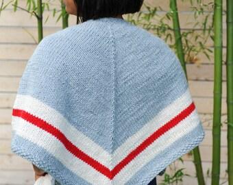 Knit Shawl // knit poncho // sock monkey shawl // canadian shawl // work sock // striped shawl