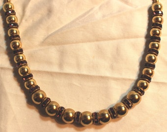 Brass and Purple Glass Bead Necklace