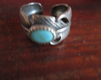 STERLING TURQUOISE RING   feather   indian jewelry  adjustable