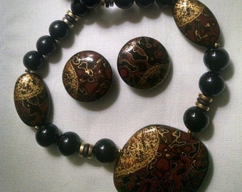 Lacquered Wood Jewelry Set Necklace Earrings Signed Japan Asian Oriental Vintage Gift for Her Earthtone Colors Black Beads