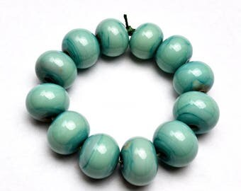 Lampwork Beads Turquoise Copper Green Set of 12