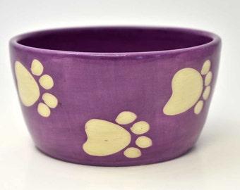 Bowl for dog   paw print   dog bowl   cat bowl   purple bowl   water bowl   dog feeder   pet food dish   feeding bowl   pet bowl   dog dish