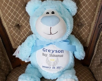 Cubbies Blue Bear Birth Announcement Blue Bear Cubby Personalized Baby Big Brother Ring Bearer Gift