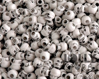 White color Skull Beads made in USA, for halloween crafts paracord crafters survival jewelry makers
