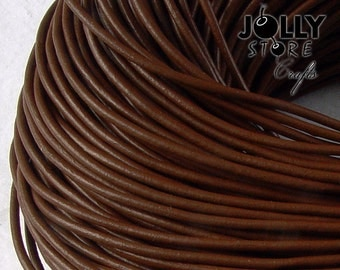 Brown Genuine Leather Jewelry Beading Cord 2mm x 5 yards