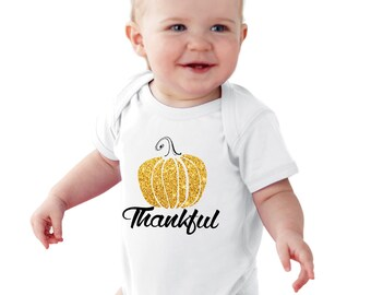Thankful Glitter Pumpkin baby bodysuit or girl Shirt