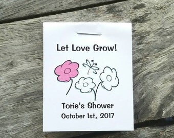 Fun Flower Butterfly Design Flower Seed Favors - Bridal Shower Favors - Wedding Favors Personalized Shabby Chic Seed Packets Birthday Favors