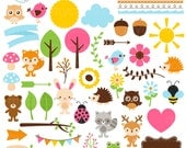 Whimsical Woodland Clipart Set - digital elements - fox, owls, frames, arrows, wood - personal use, small commercial use, instant download