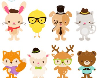 Fashion Animals Clipart Set - clip art set of hipster animals, glasses, scarfs, hats - personal use, small commercial use, instant download