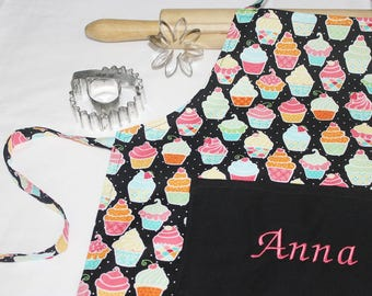 Personalized Cupcakes and Polka Dots on Black Child Apron - made to order