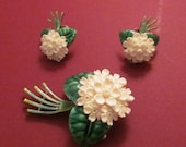 On Sale Antique Flower Brooch German Sterling Silver And Enamel Carved Faux Ivory Flower Pin With Matching Earrings Jewelry Set Circa 1940