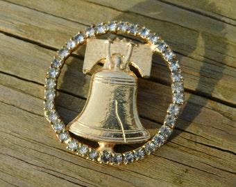 Vintage Bicentennial Era Liberty Bell Costume Jewelry Brooch w Rhinestones