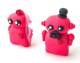 Polymer Clay Robot Wedding Cake Topper