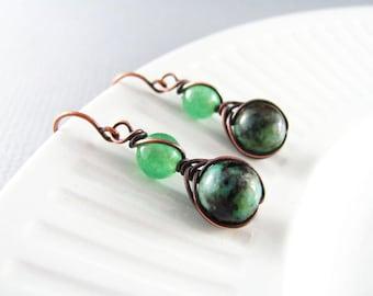 Wire Wrapped Earrings Sapphire Earrings Copper Earrings Wire Wrapped Jewelry Sodalite Copper Wire Herringbone Wrapped Blue Aventurine