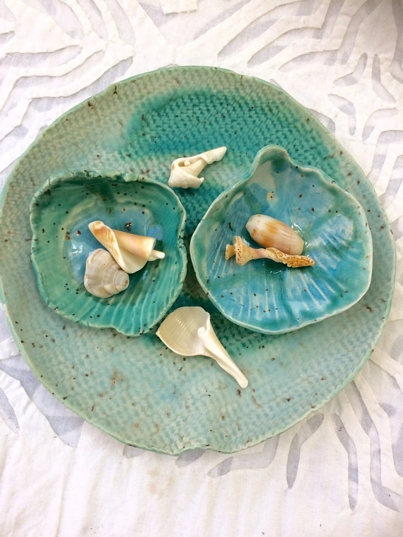 Seashell bowl set, aqua bowl, jewelry storage, snack bowl, ocean decor, beach house decor, Turquoise bowls, organic shape, specked stoneware