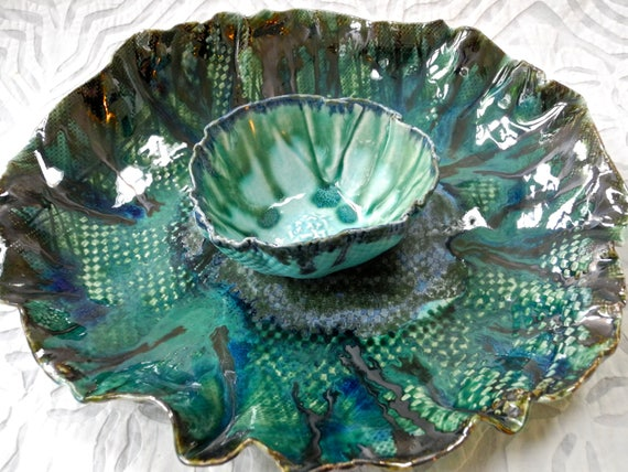Chip and dip, Ceramic Platter, pottery platter set, entertaining, modern ceramic, organic shape, blue green, ceramics and pottery, wavy bowl