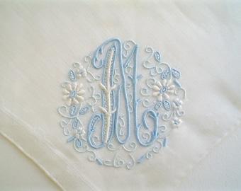 Unused Hankie Monogram M Elaborate Hand Embroidered New Old Stock Vintage Handkerchief