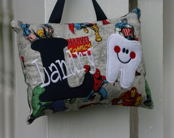 Tooth Fairy Pillow for Boys Comics Spider Man Hulk Captain America Iron Man Personalized