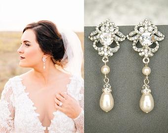 Bridal Earrings, Wedding Earrings, Swarovski Pearl and Crystal Rhinestone Dangle Earrings, Teardrop Drop Earrings, Bridal Jewelry, JOLENE