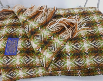 PENDLETON Woven Wool Blanket Throw Browns Olive Green Ivory STUNNING