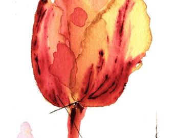 Original Watercolor Painting of Tulip,  Botanical Art, Tulip Painting, Floral Art